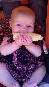 Baby eating organic sweet corn.