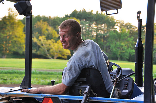 Farmer Kevin on the tractor.
