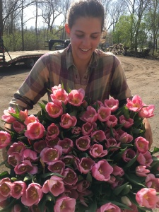 Jen with tulips