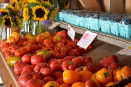 heirloom tomato display from the east with basket