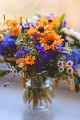 pexels rudbeckia ageratum matricaria bouquet glass vase