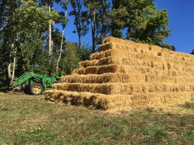 hay pyramid green tractor