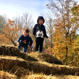 two little boys hay pile pyramid square