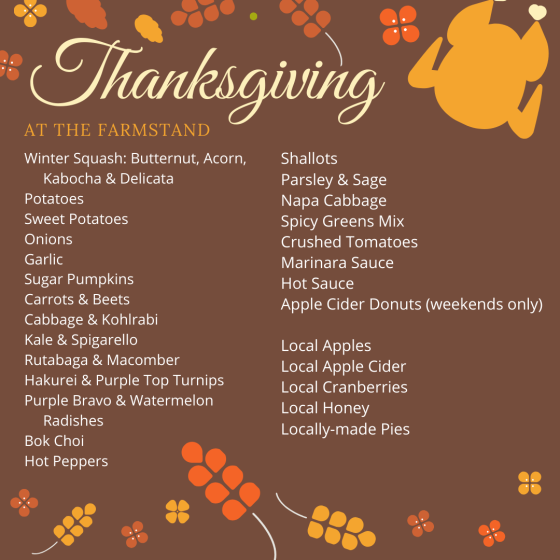 farmstand thanksgiving list 2019