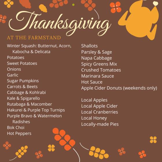 farmstand thanksgiving list 2019