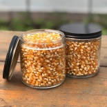 popcorn glass jar black top